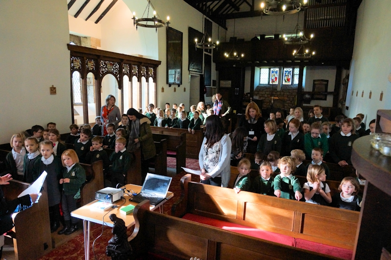 School visits Church for a short Lent address from Fr Peter